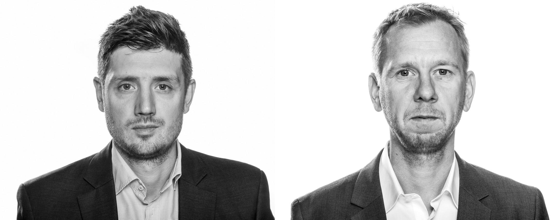 Berlingske-journalisterne Michael Lund og Simon Bendtsen har sammen afdækket Danske Banks hvidvaskningsskandale for milliarder af kroner i de estiske filialer, Foto: Søren Bidstrup, Berlingske